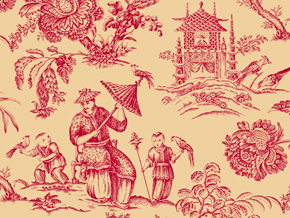 Red Oriental Toile Wallpaper